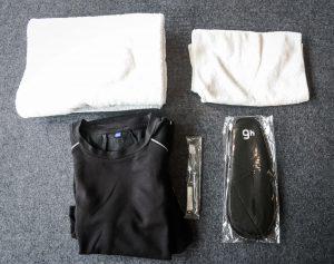 包含毛巾、盥洗用品、拖鞋等